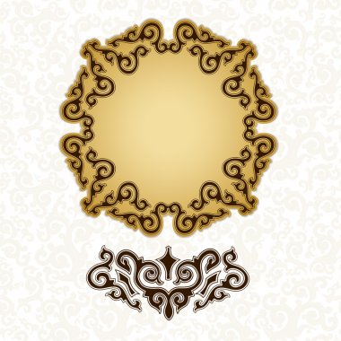 Golden plate with decorative elements.