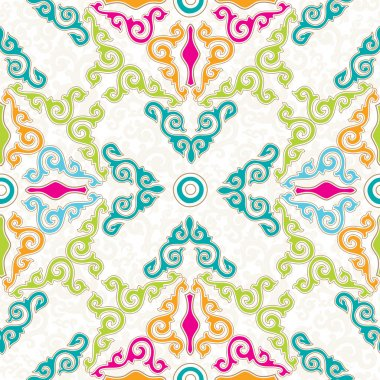 Colorful seamless ornament, white background.