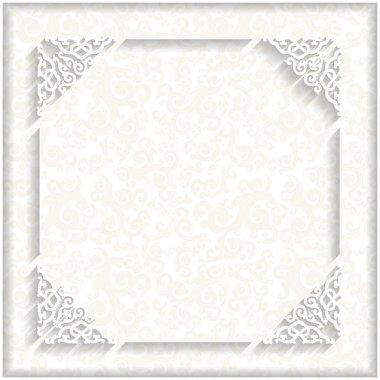 White 3d frame. Decorative pattern.