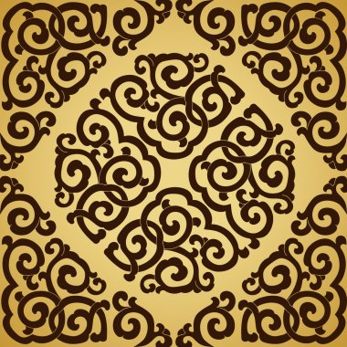 Brown ornament gold background.