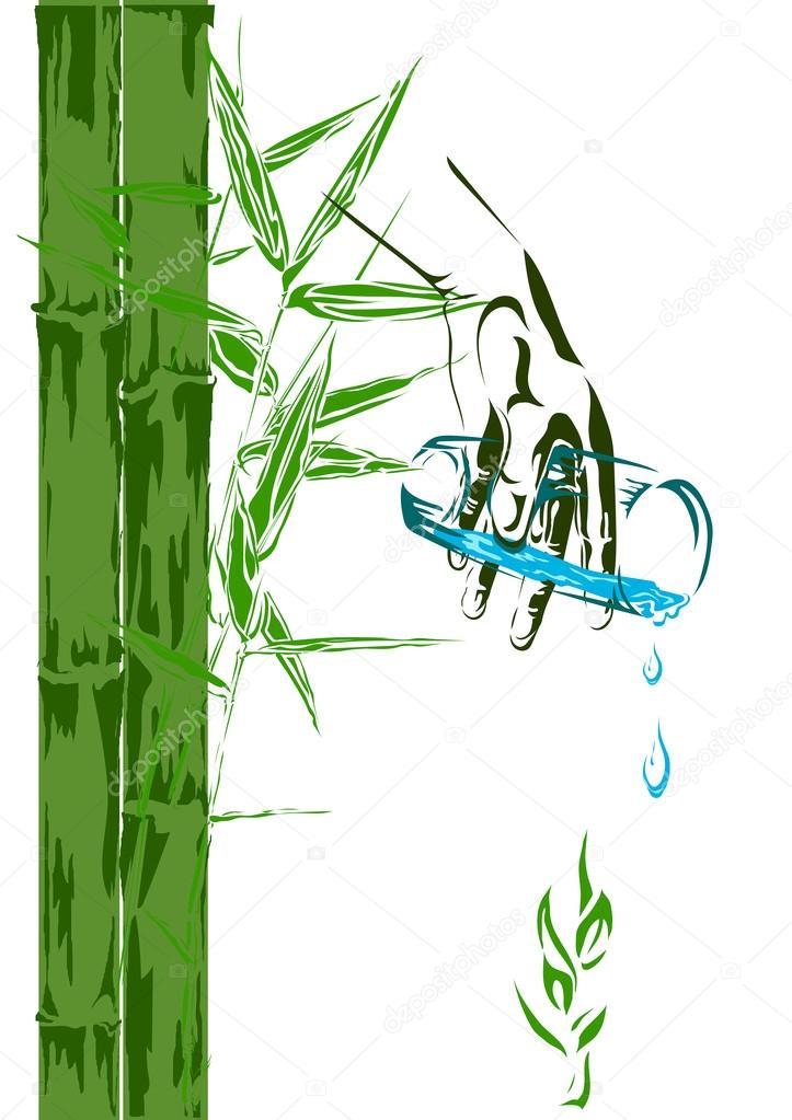 Bambussprossen Und Ein Glas Sauberes Wasser Stockvektor