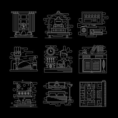 Hotel services white line vector icons set