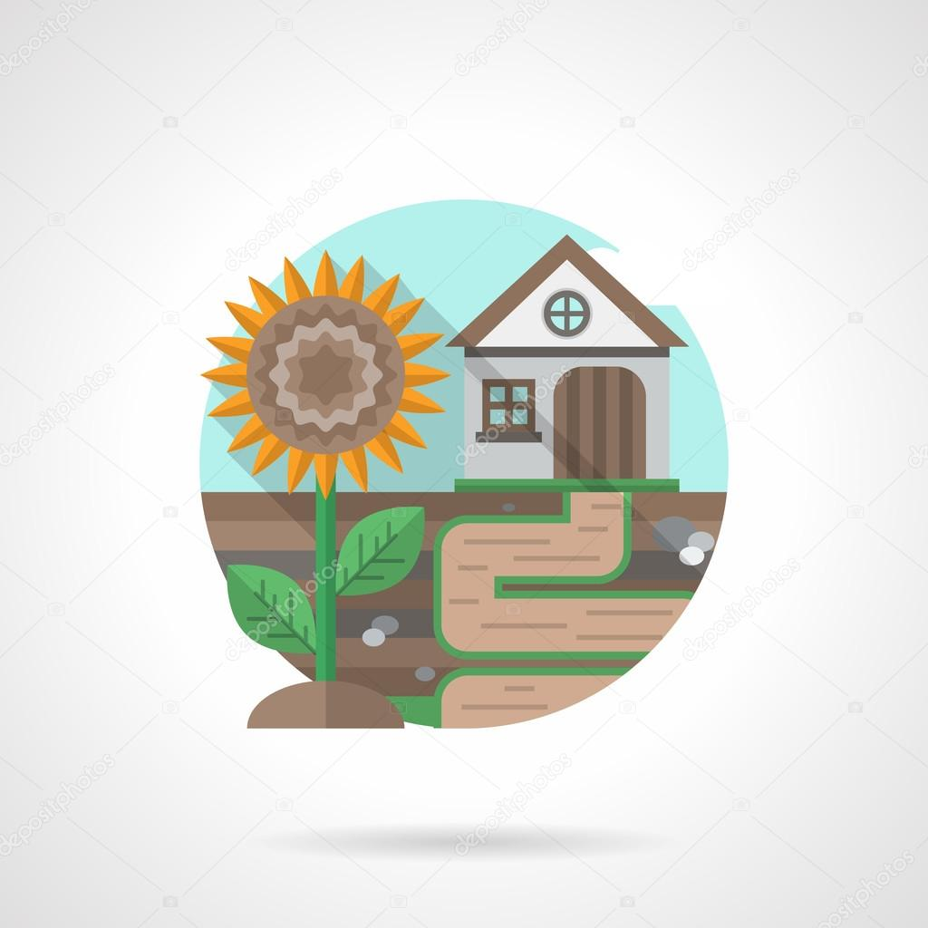 Village house detailed flat color vector icon