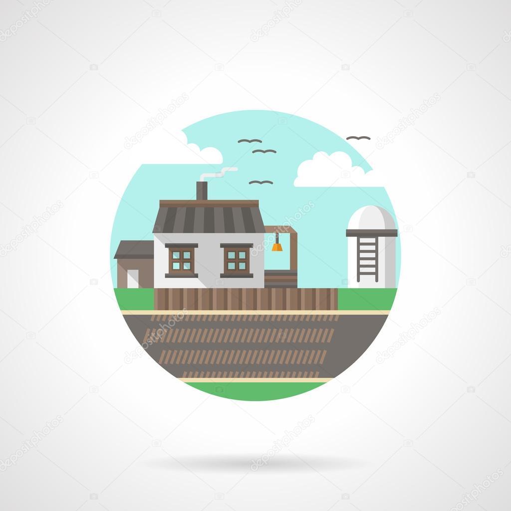 Village scene detailed flat color vector icon