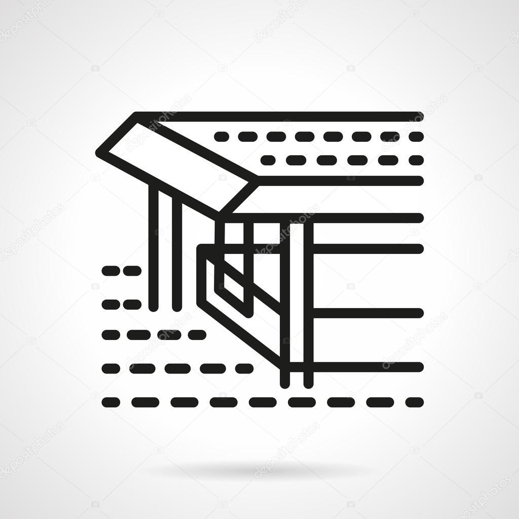 Pier black line design vector icon