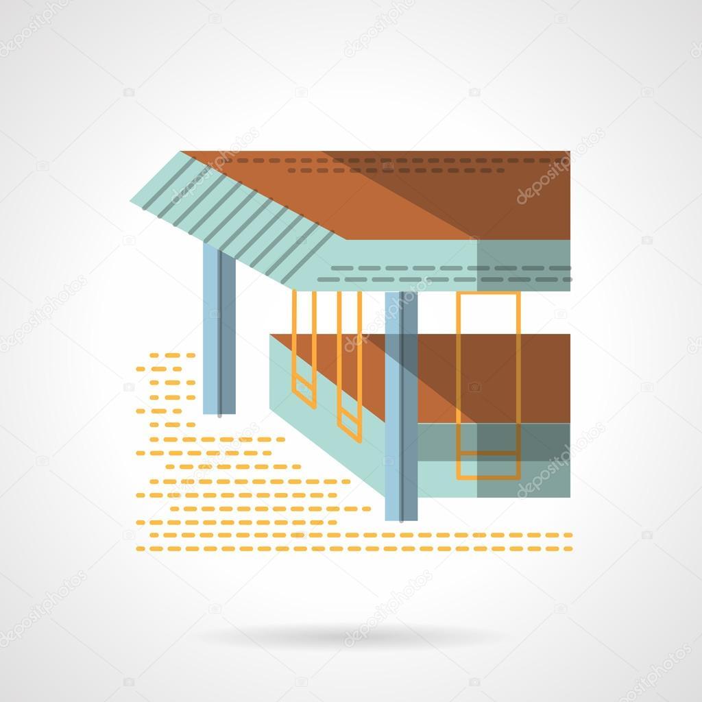Sea terrace flat color design vector icon