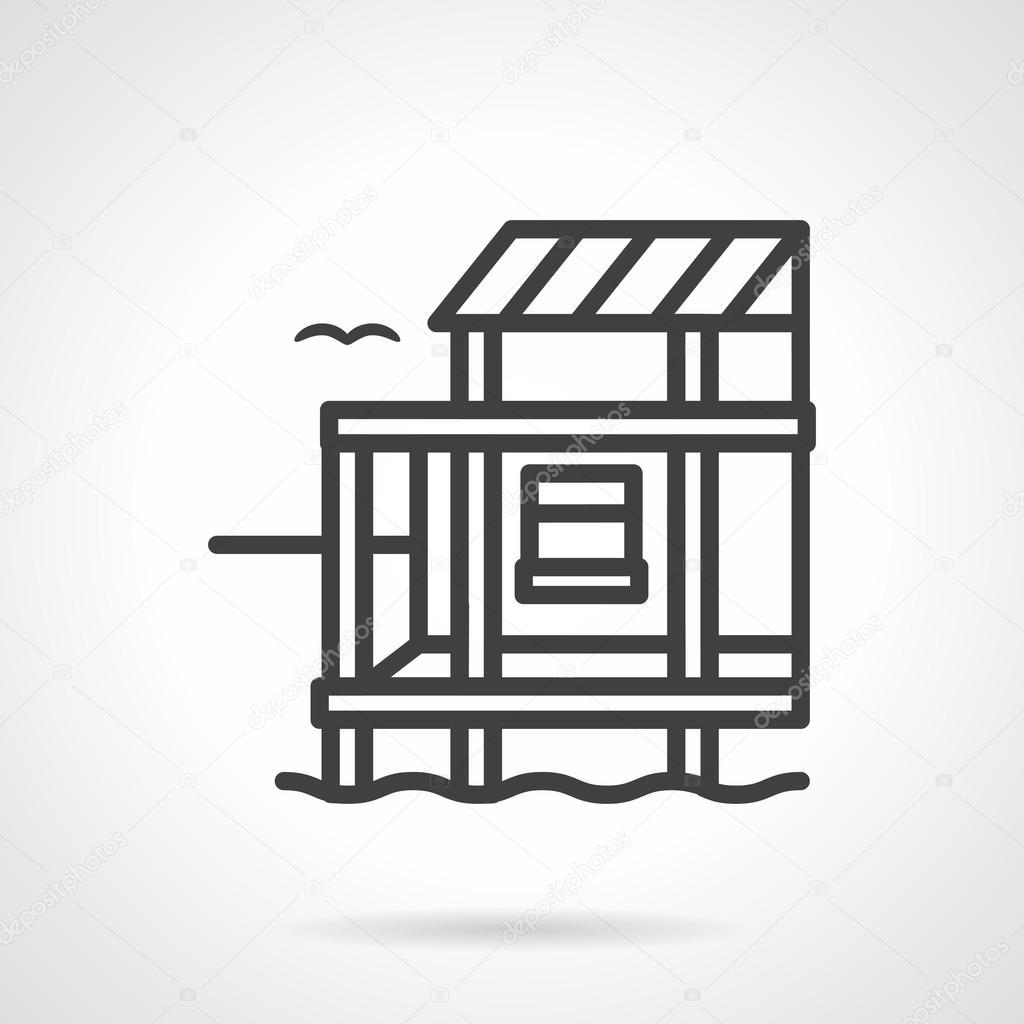 Riverside cottage black line design vector icon