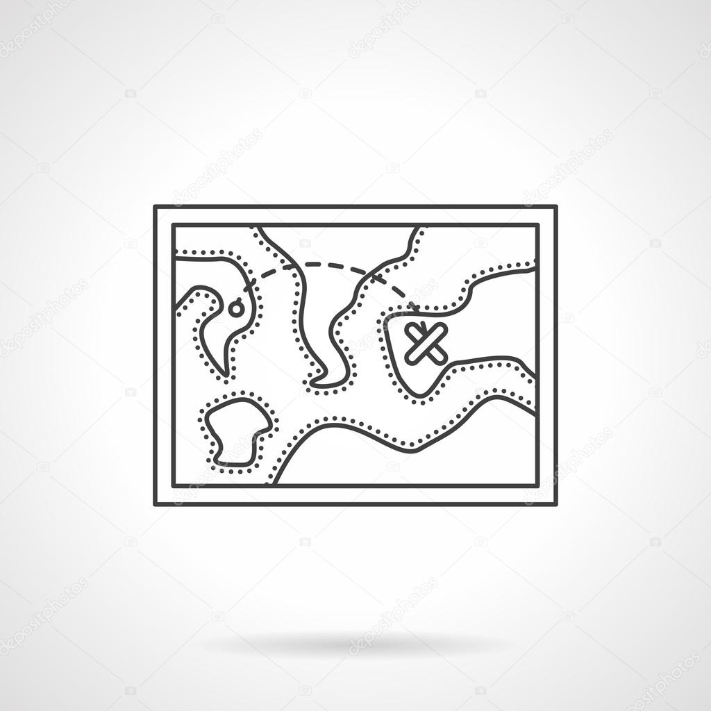 Touristic map flat line design vector icon
