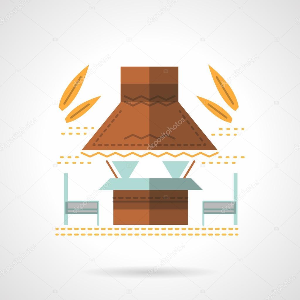 Outdoor cafe flat color design vector icon