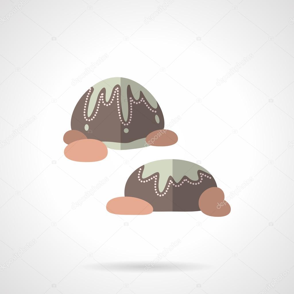 Chocolates flat color design vector icon