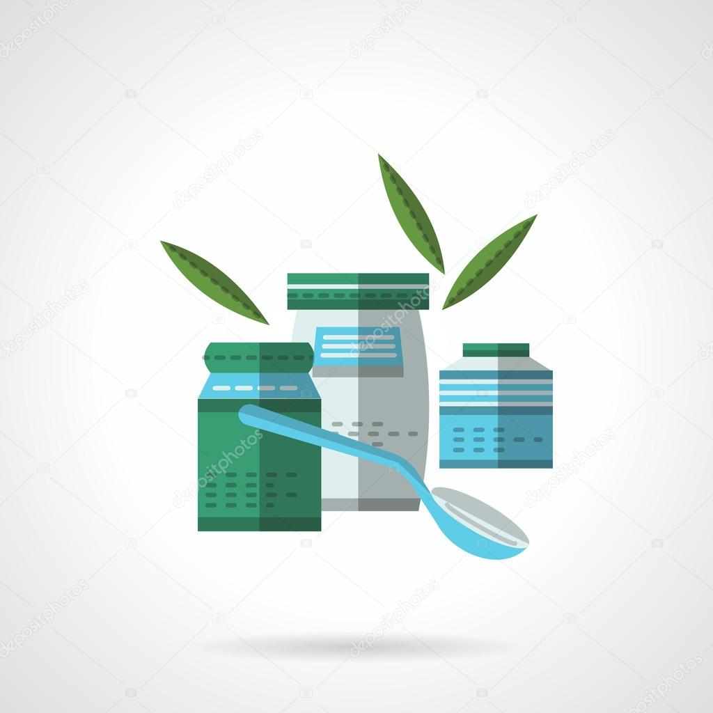 Organic preserves flat color design vector icon