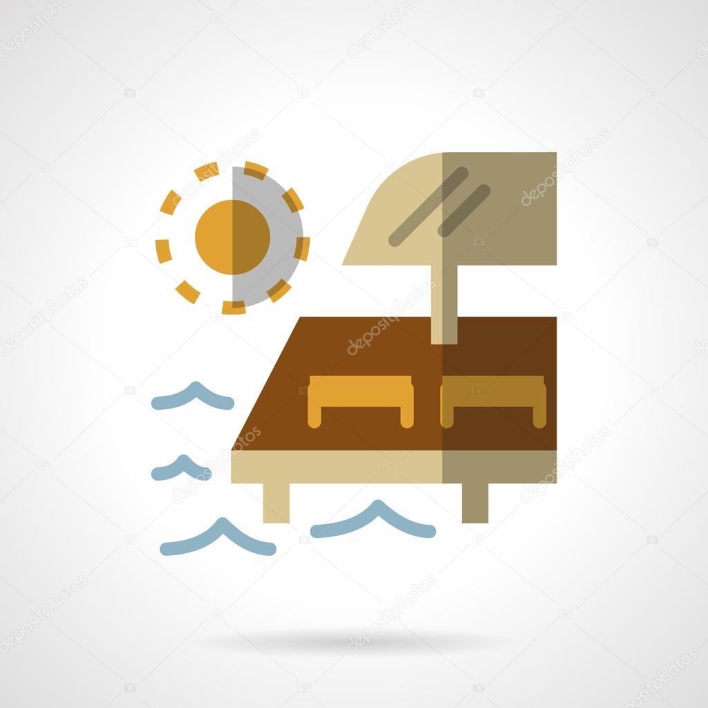 Beach relaxing flat color design vector icon
