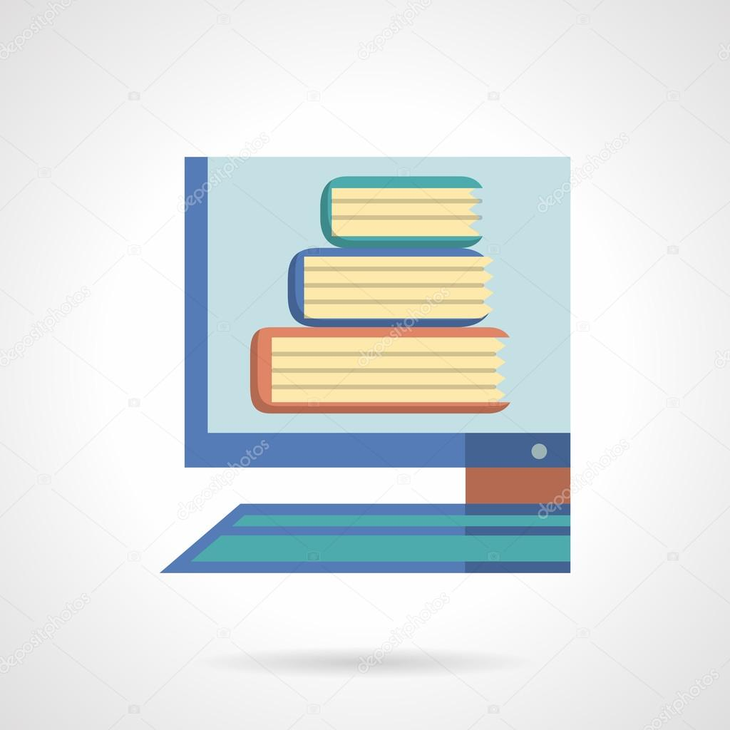 Online library flat color design vector icon