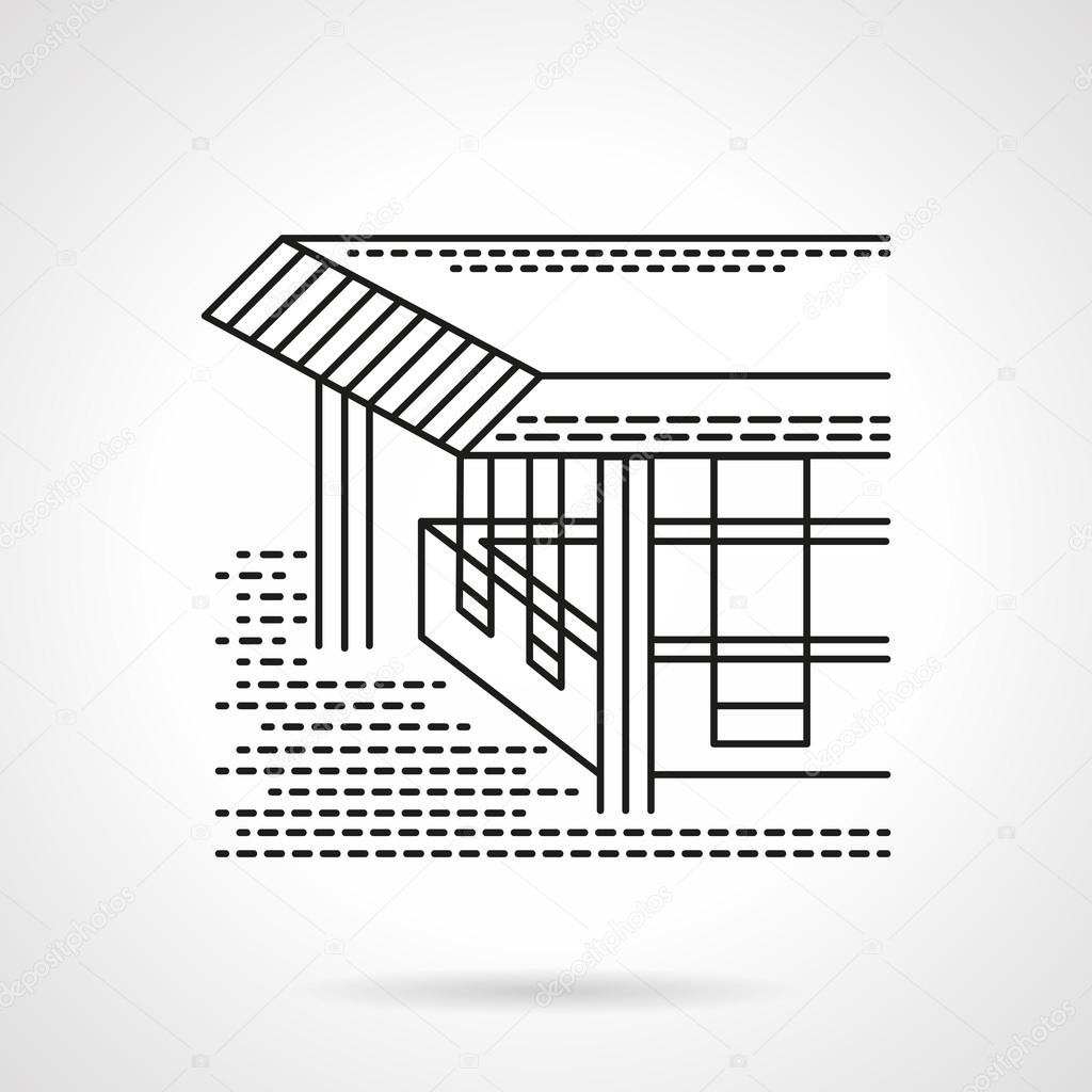 Flat line design coastal terrace vector icon