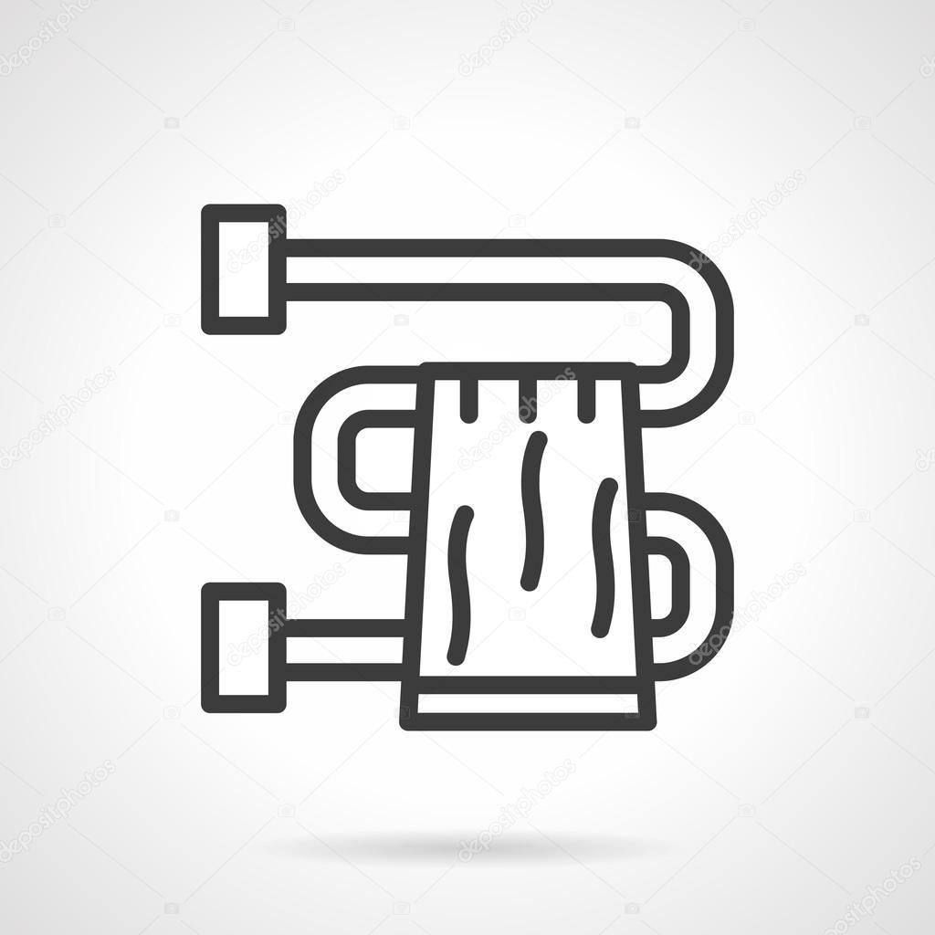 Bathroom towel black line design vector icon — Stock Vector ...