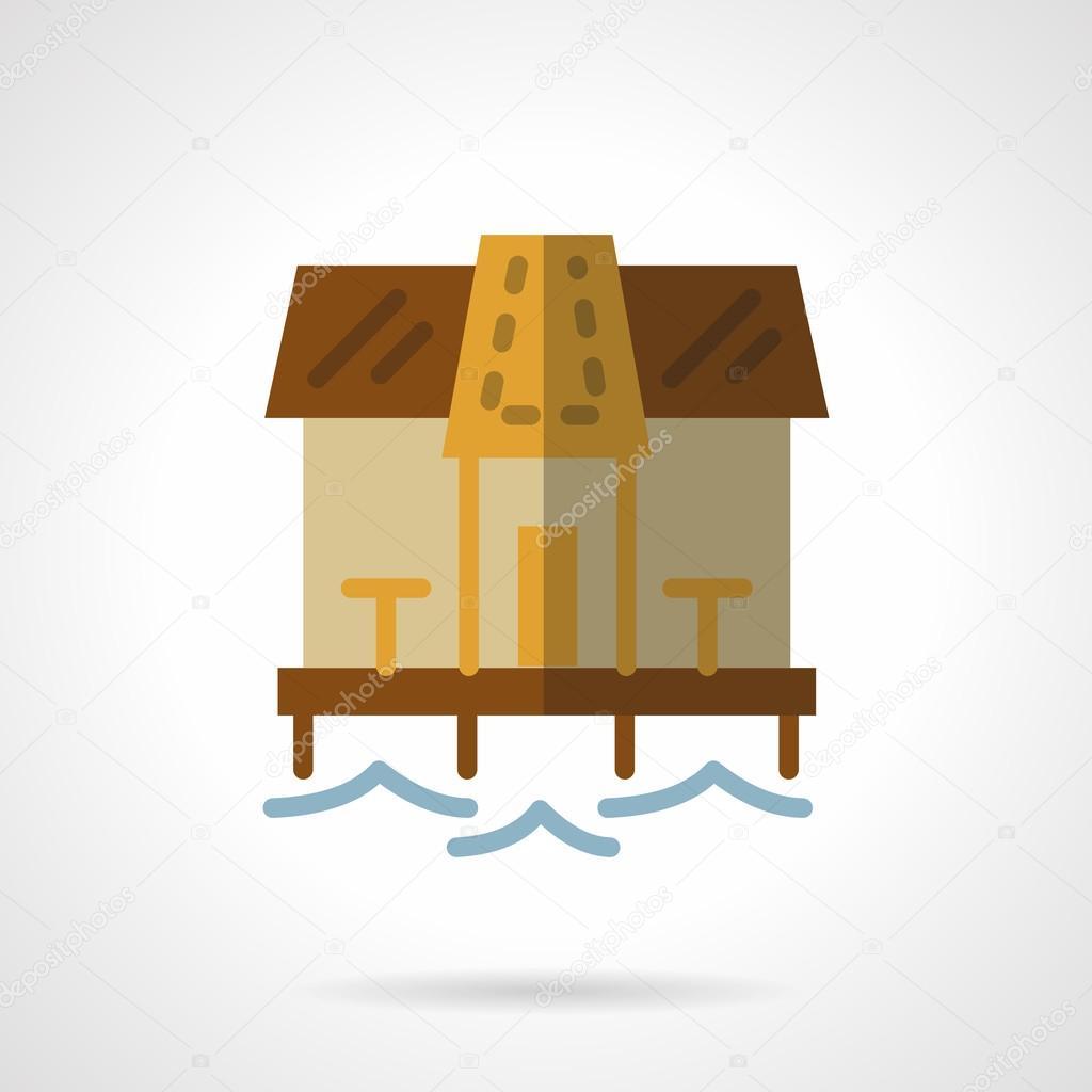 Beach bungalow flat color vector icon