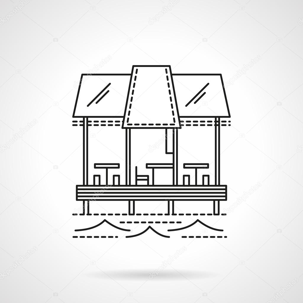 Cafe on pier flat line vector icon