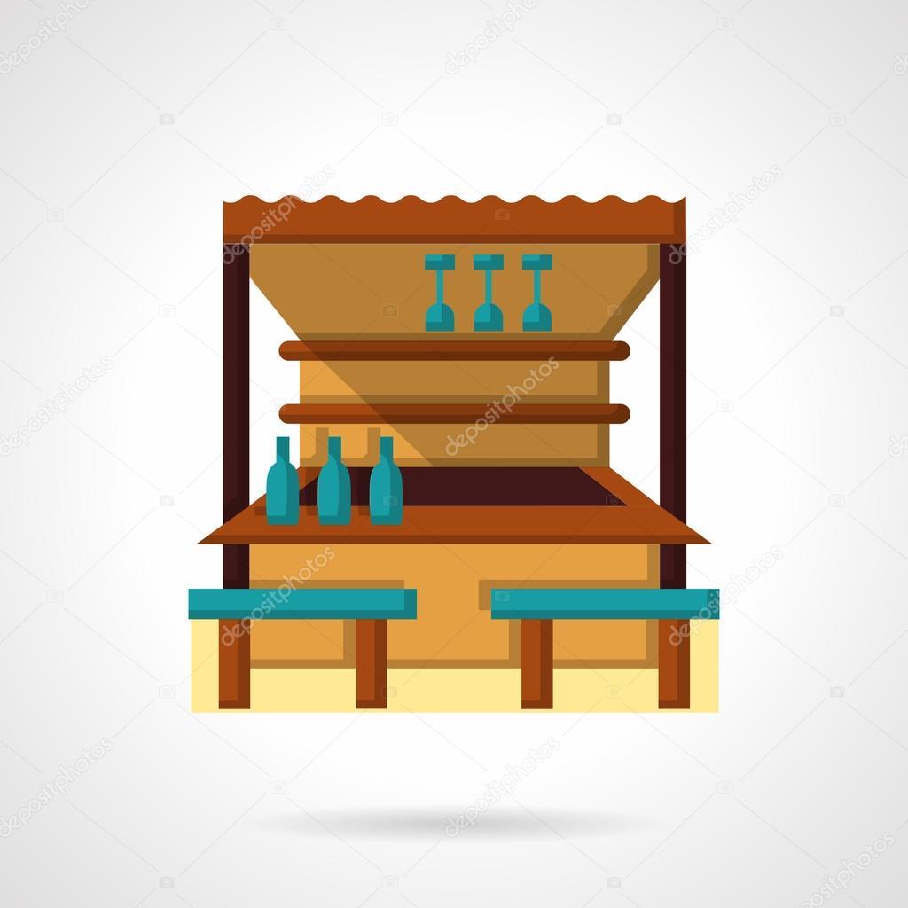 Tropical bar flat color design vector icon