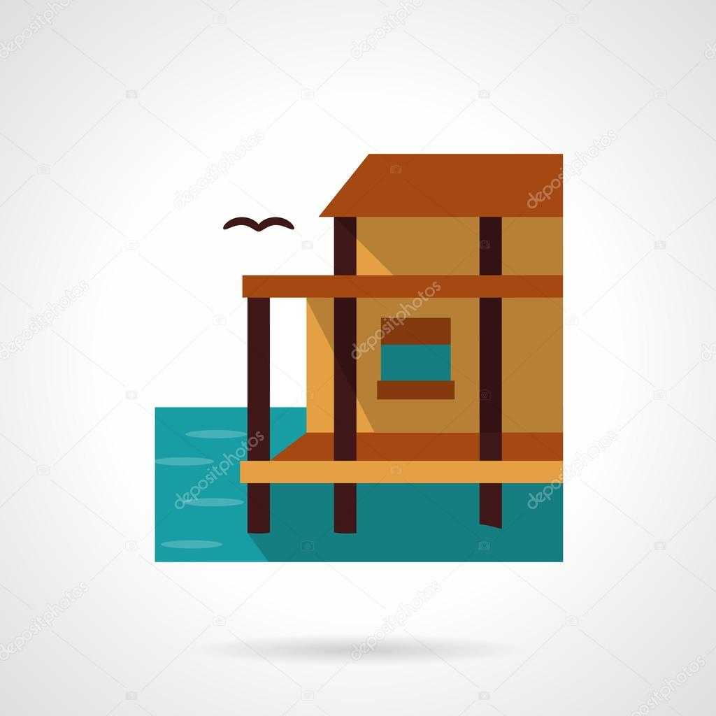 Lake house flat color design vector icon
