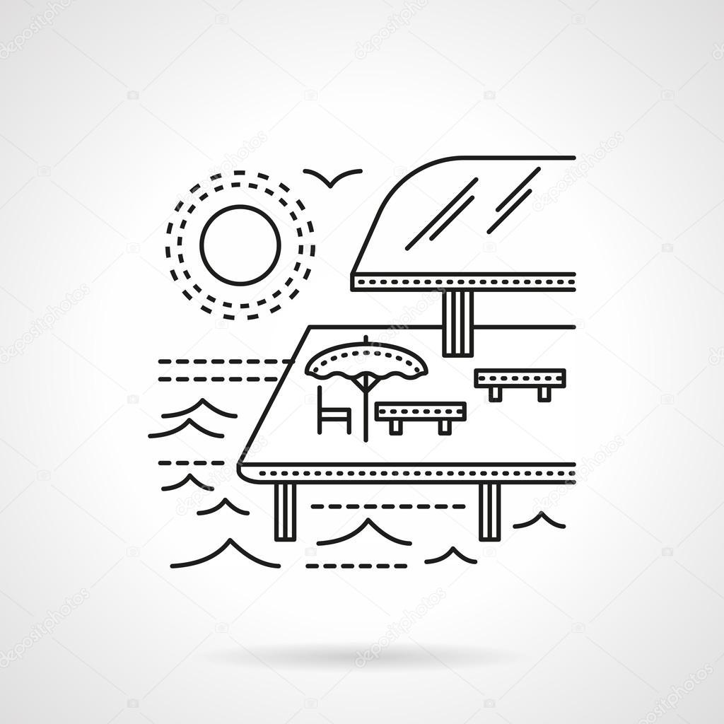 Tropical resort flat line vector icon