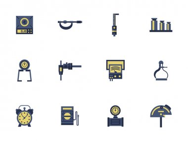 Flat color design measuring devices vector icons