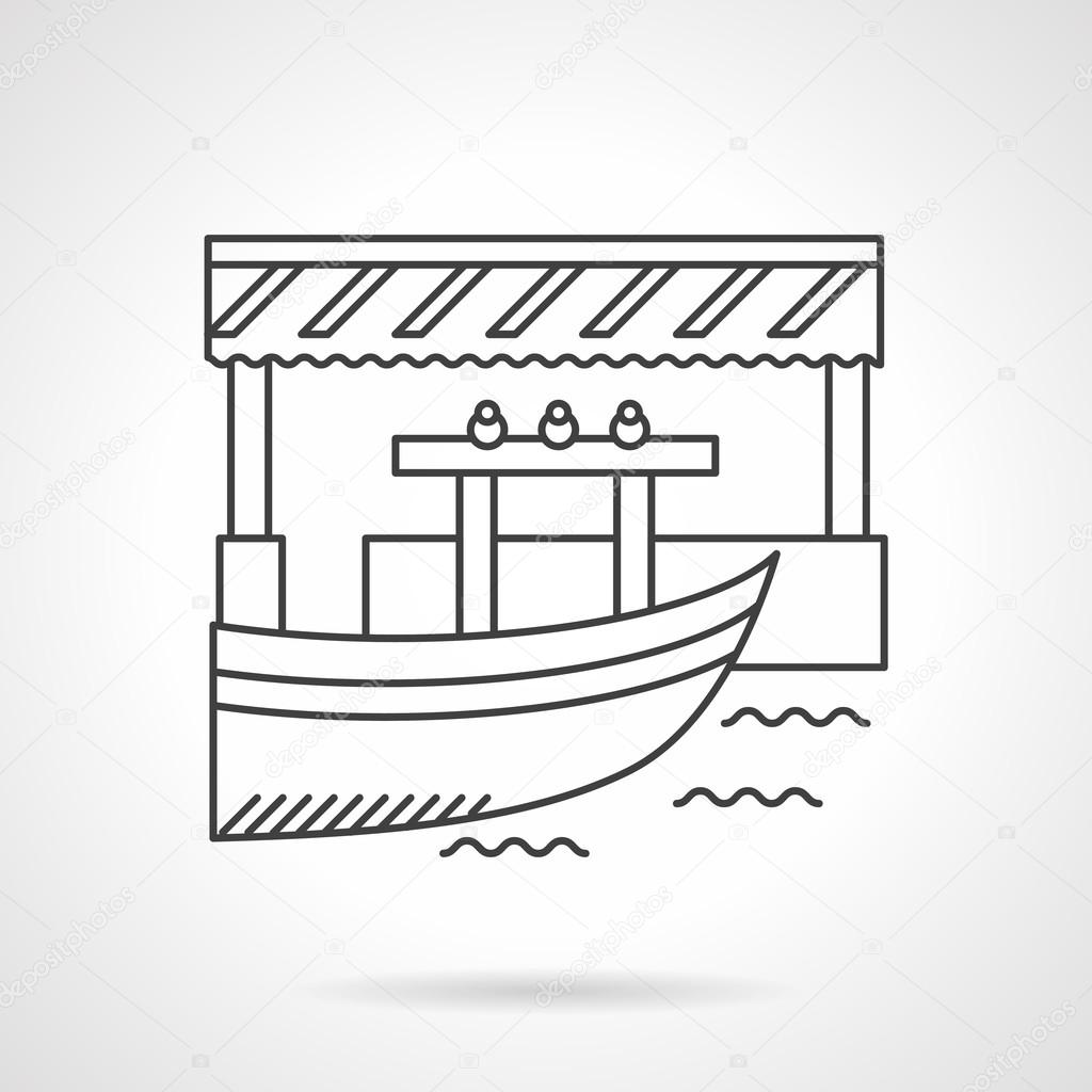 Floating market flat line vector icon