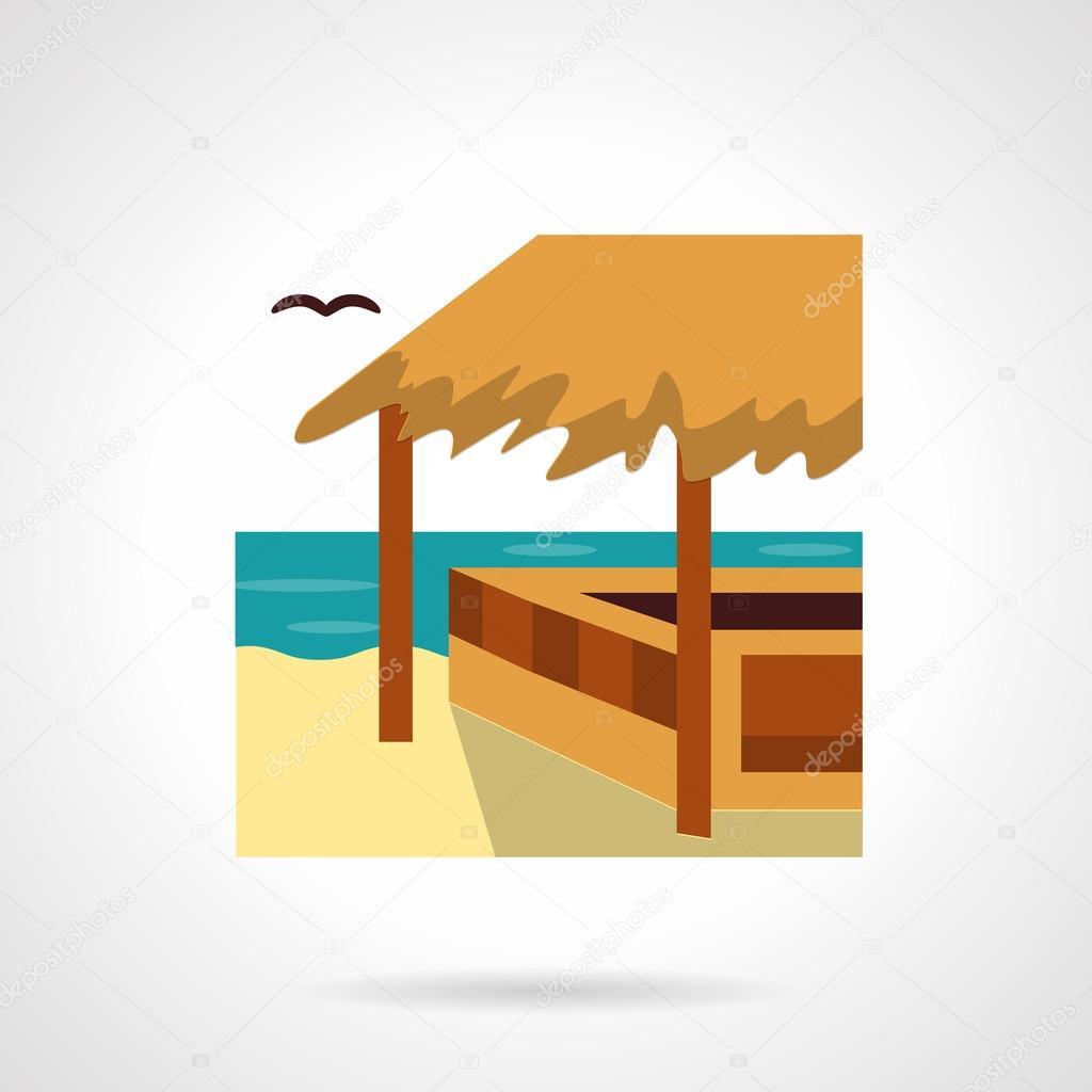 Bungalow bar flat color design vector icon