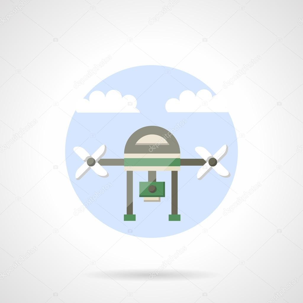 Video Drone Flat Color Design Vector Icon Vetores De Stock