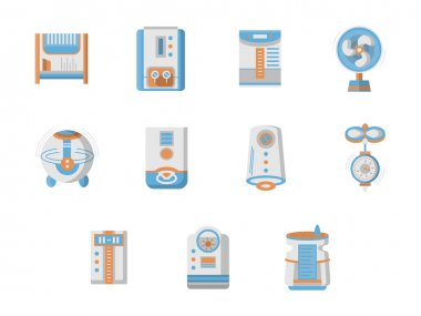 Flat design vector icons for home climatic system