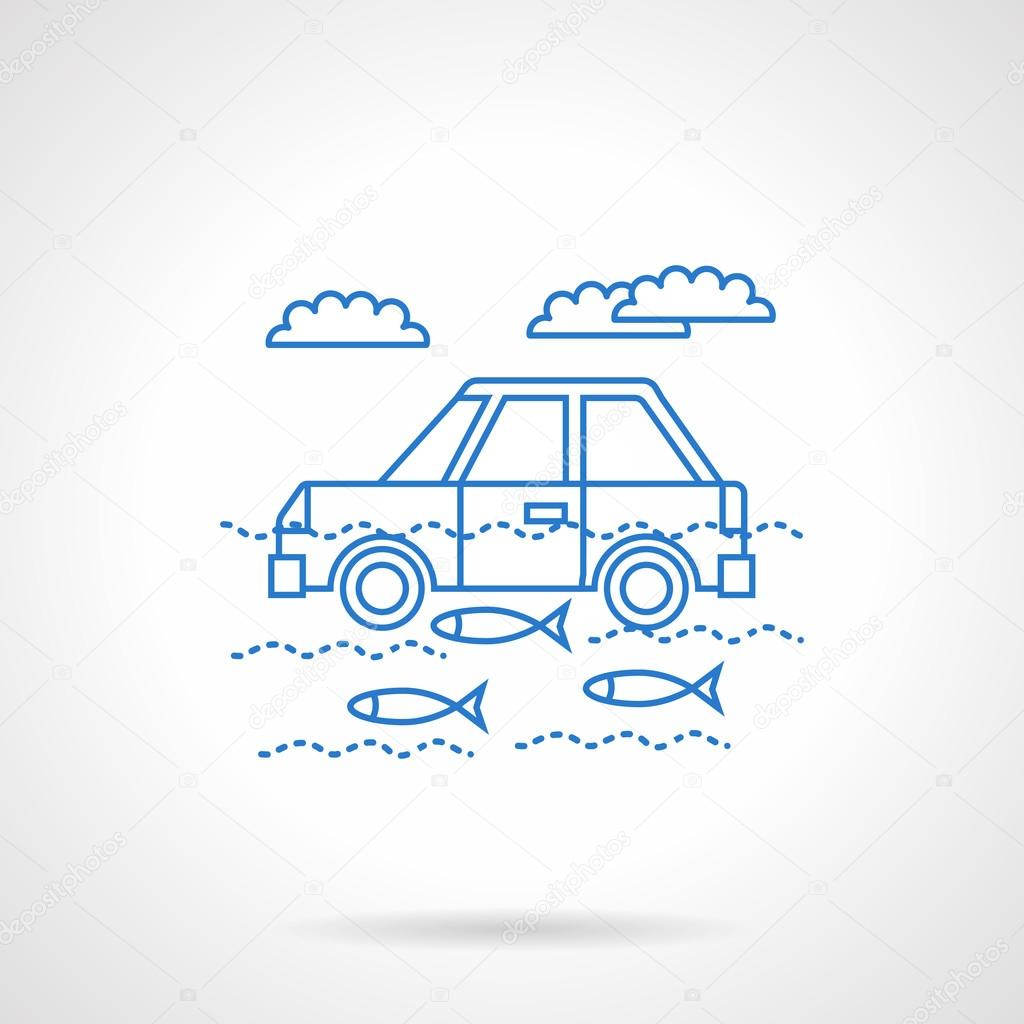 Car in river flat blue line vector icon