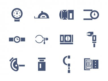 Simple glyph measuring tools vector icons set