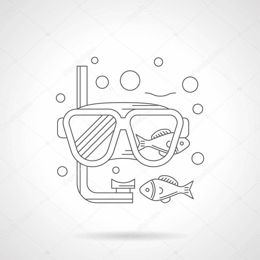 Snorkeling mask detailed line vector icon