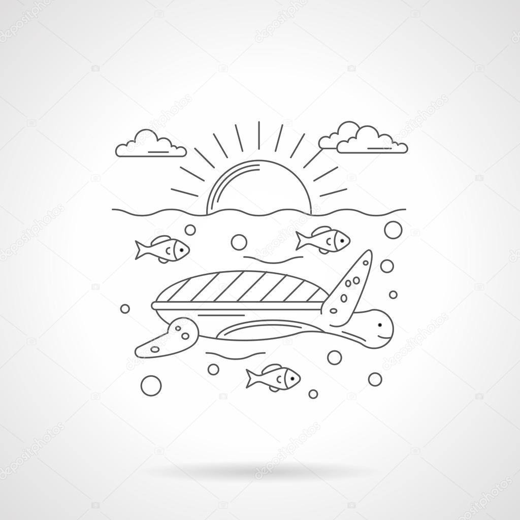 Turtle in sea detailed line vector icon