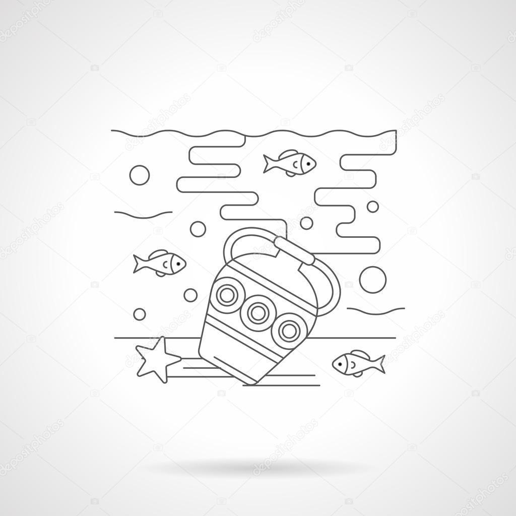 Seabed with amphora detailed line vector icon