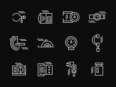 Measuring tools white simple line vector icons