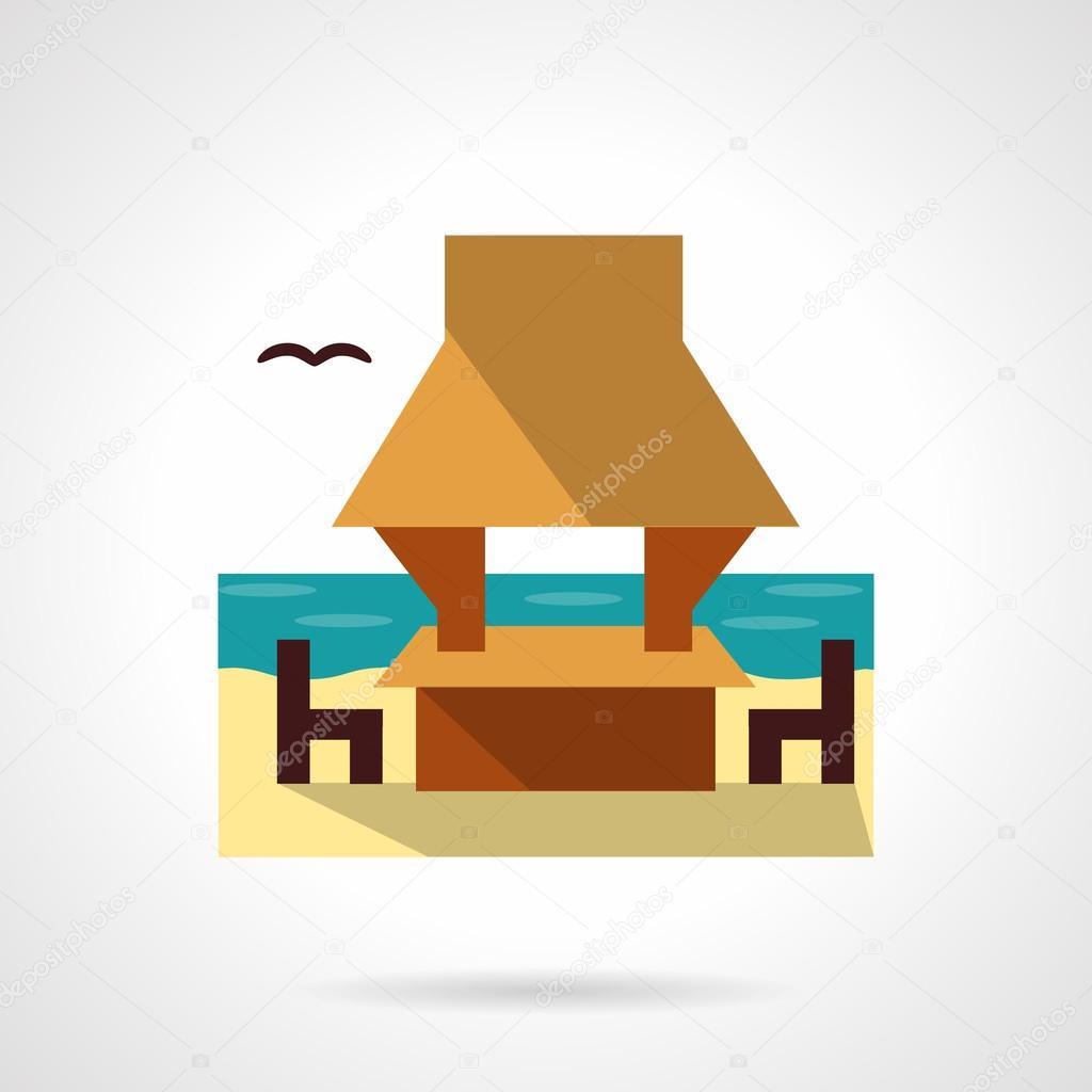 Beach gazebo flat color design vector icon