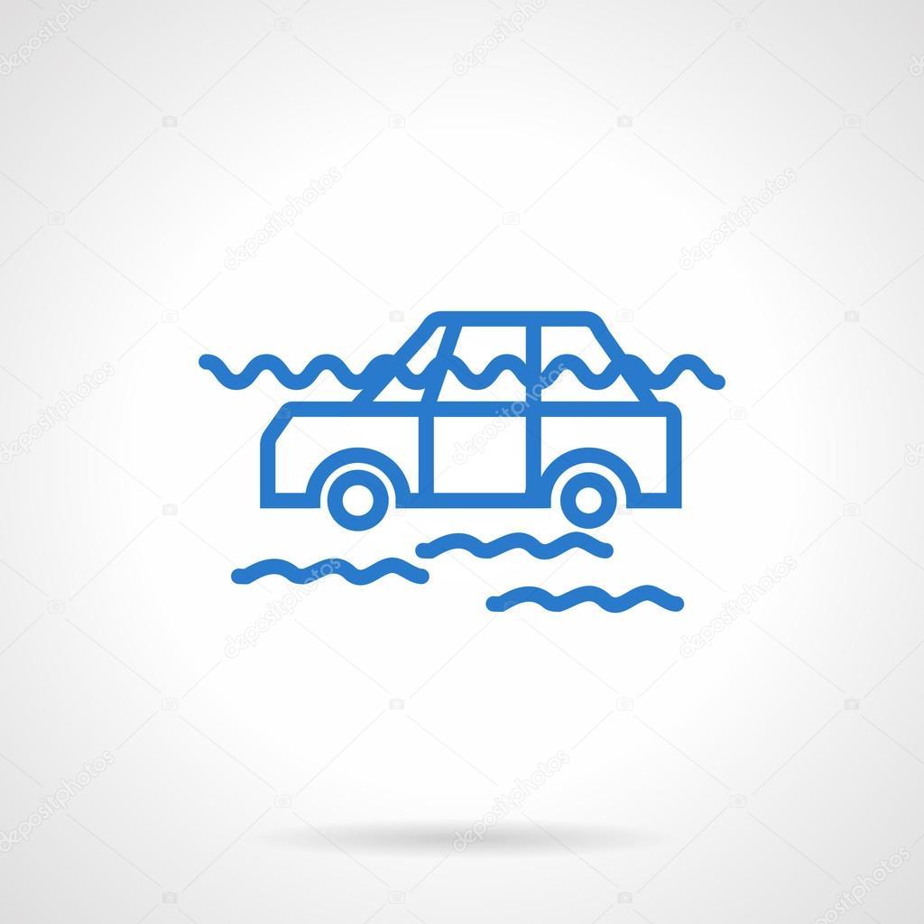 Car flood insurance blue line vector icon