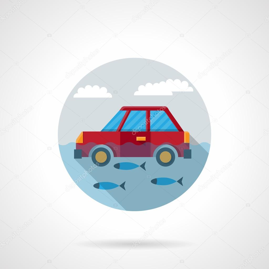 Flood disaster flat color design vector icon