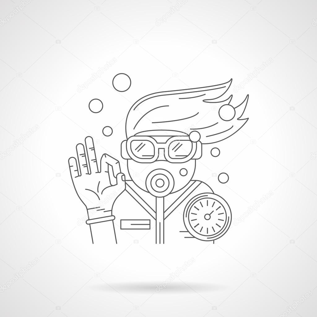 Young diver detailed line vector icon