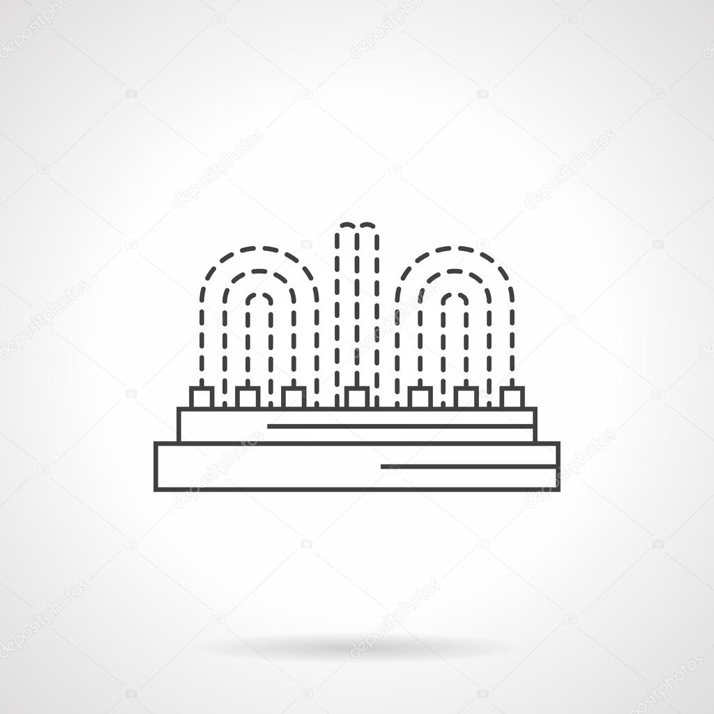 Illuminated fountain flat line vector icon