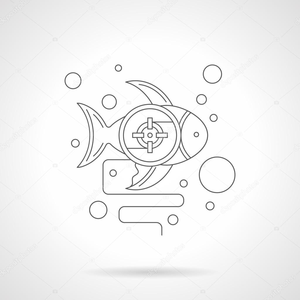 Underwater photo hunt detailed line vector icon