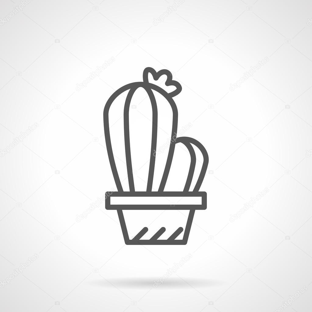 Black line cacti vector icon
