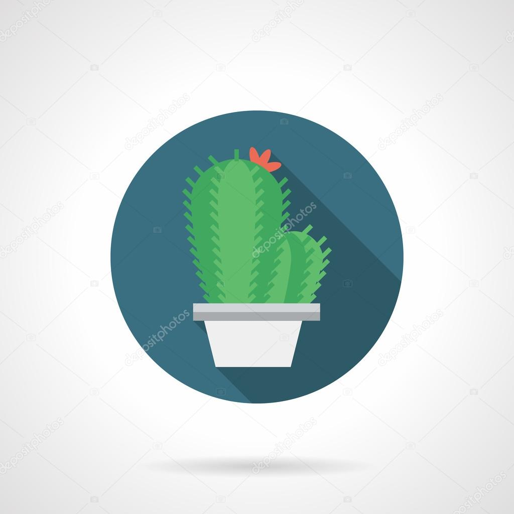 Cacti with flower round flat color vector icon