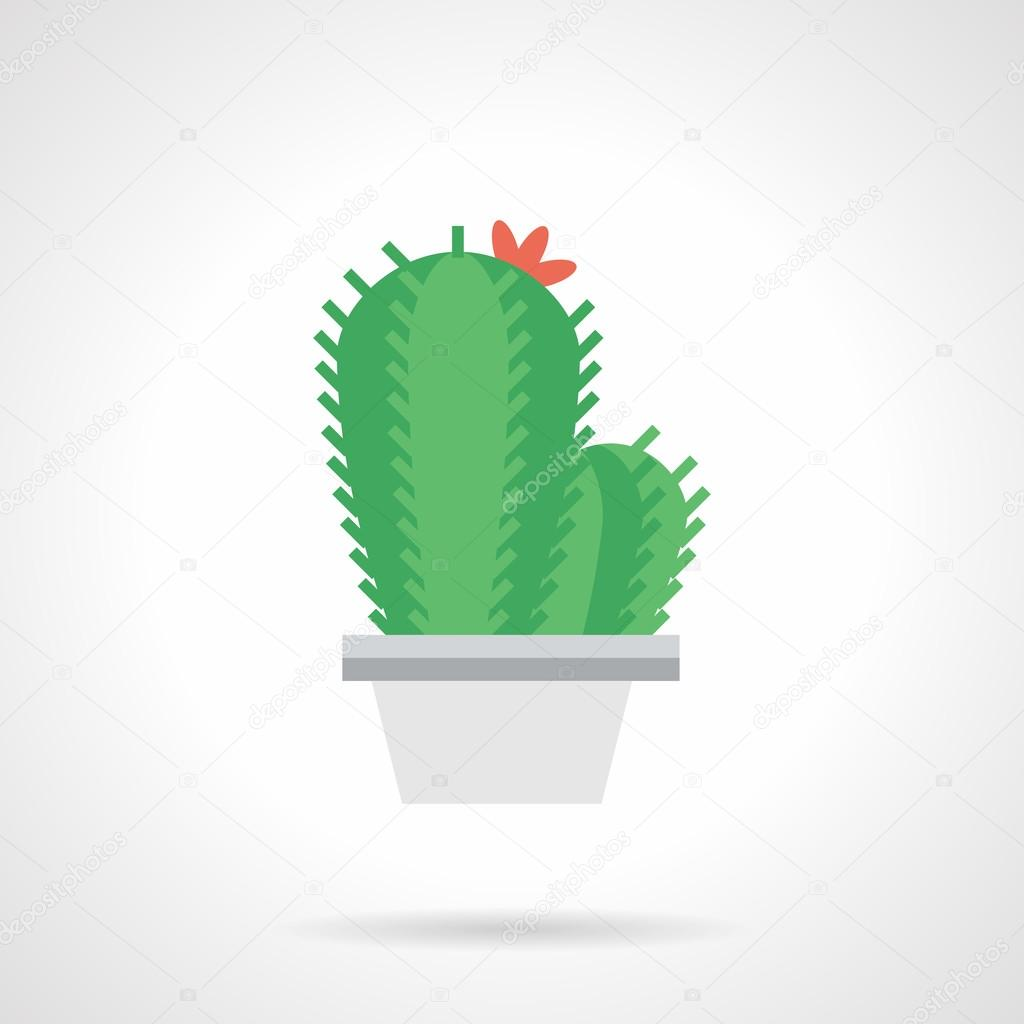 Prickly flower flat color vector icon