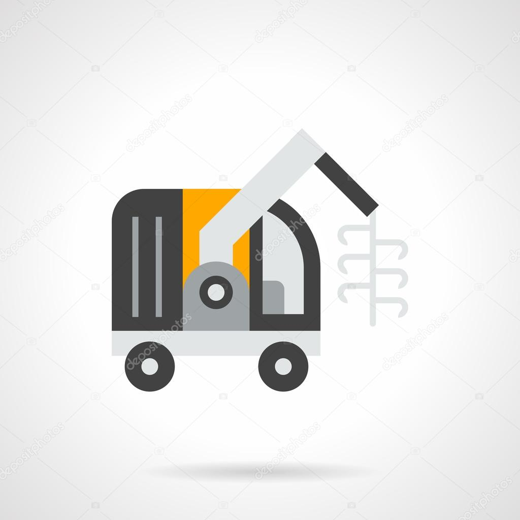 Forage harvester flat color vector icon