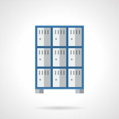 Public lockers flat color design vector icon