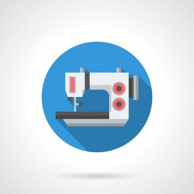 Electric sewing equipment flat round vector icon