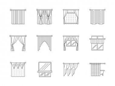 Curtains line flat vector icons set