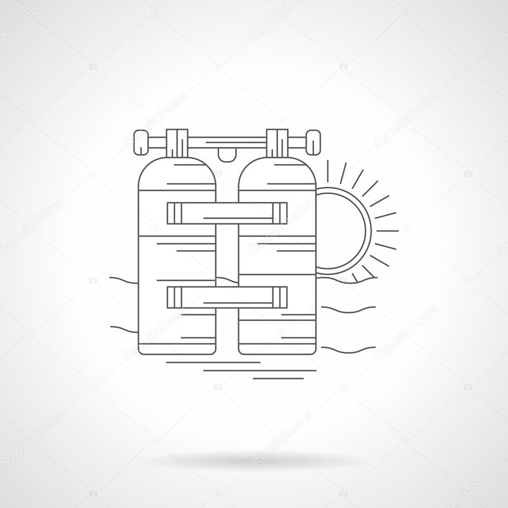 Aqualung detailed line vector illustration
