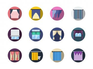 Blinds and curtains color round flat vector icons